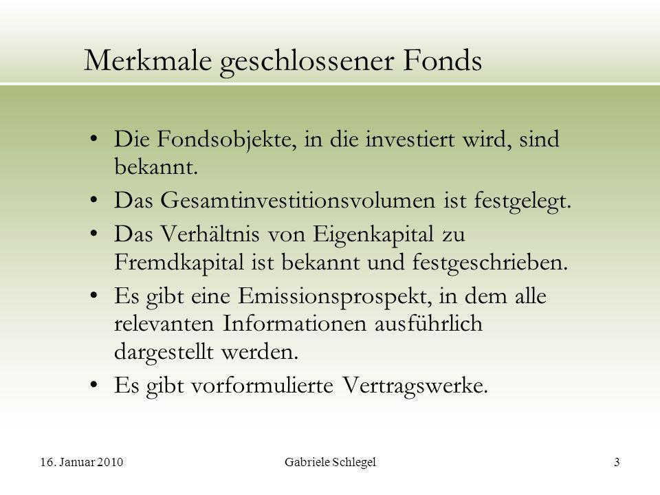 Merkmale geschlossener Fonds