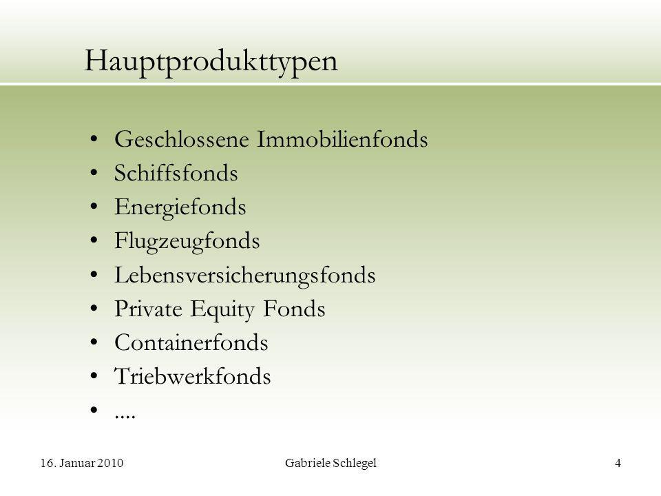 Hauptprodukttypen Geschlossene Immobilienfonds Schiffsfonds