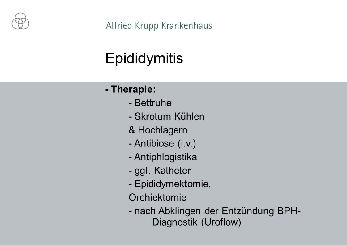 Epididymitis - Therapie: - Bettruhe - Skrotum Kühlen & Hochlagern