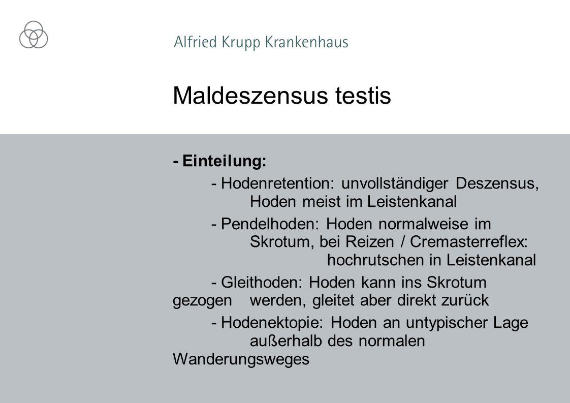 Maldeszensus testis - Einteilung: