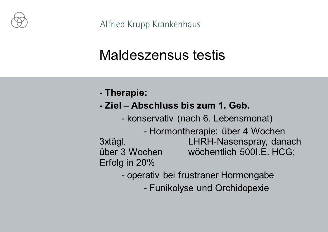 Maldeszensus testis - Therapie: - Ziel – Abschluss bis zum 1. Geb.