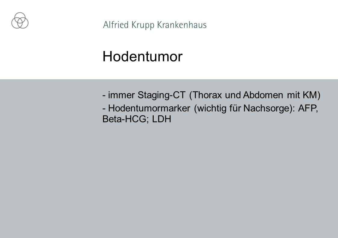 Hodentumor - immer Staging-CT (Thorax und Abdomen mit KM)