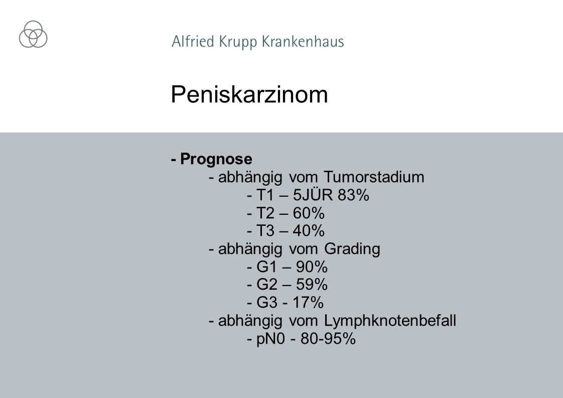 Peniskarzinom - Prognose - abhängig vom Tumorstadium - T1 – 5JÜR 83%