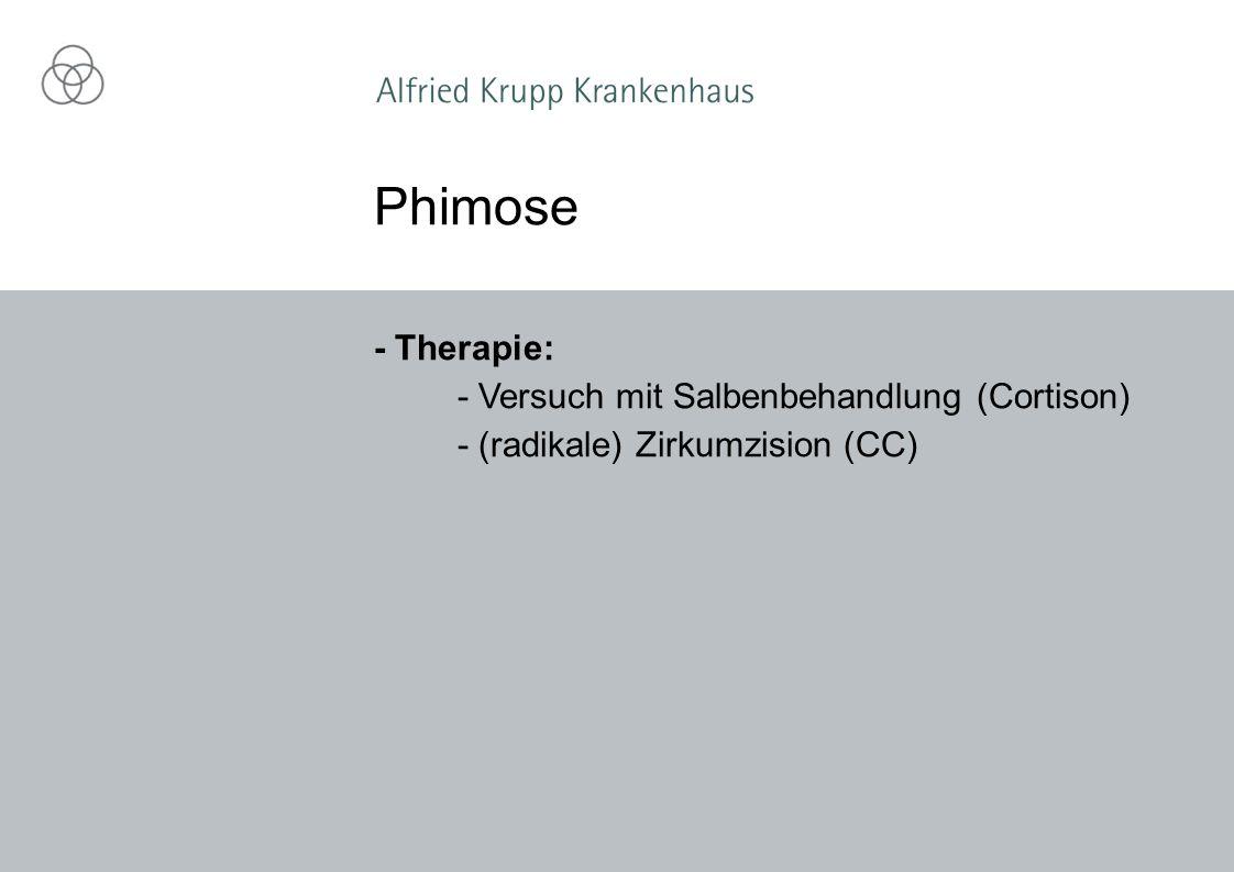 Phimose - Therapie: - Versuch mit Salbenbehandlung (Cortison)