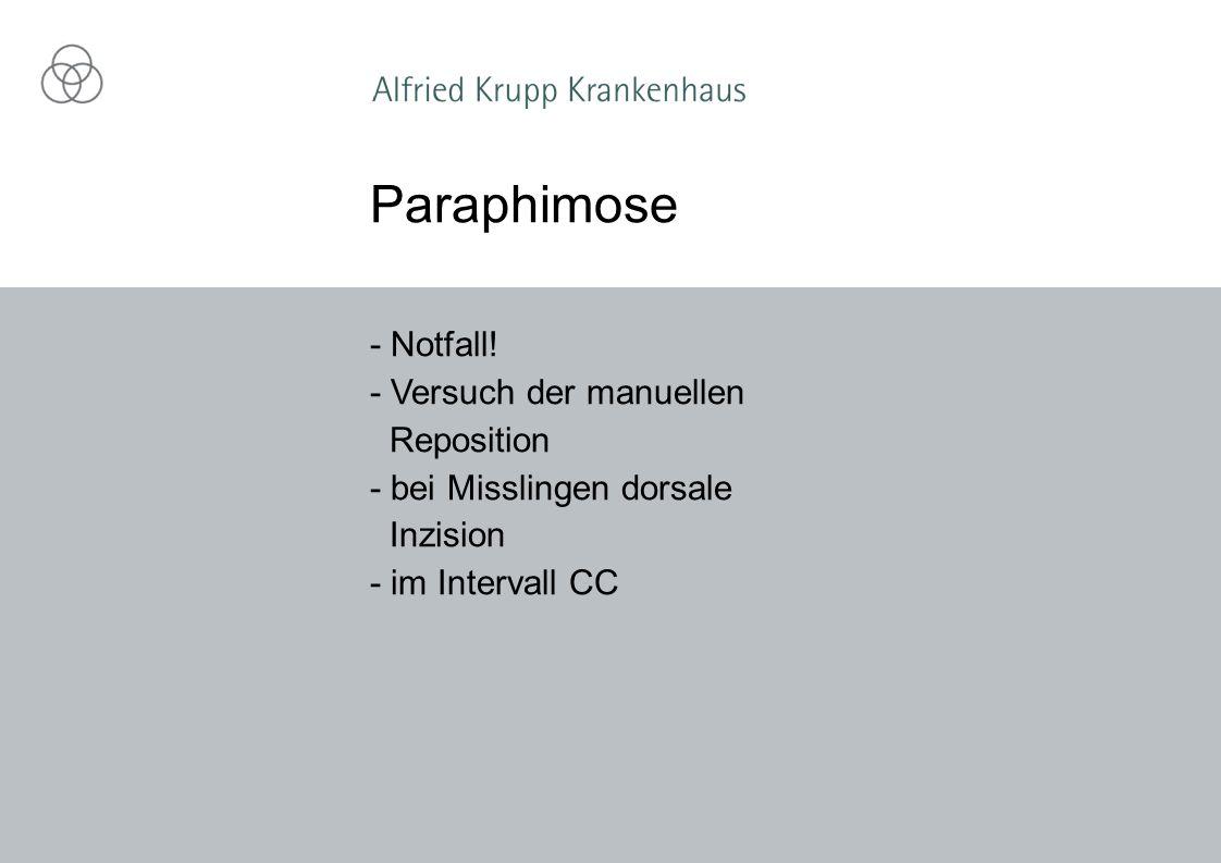 Paraphimose - Notfall! - Versuch der manuellen Reposition