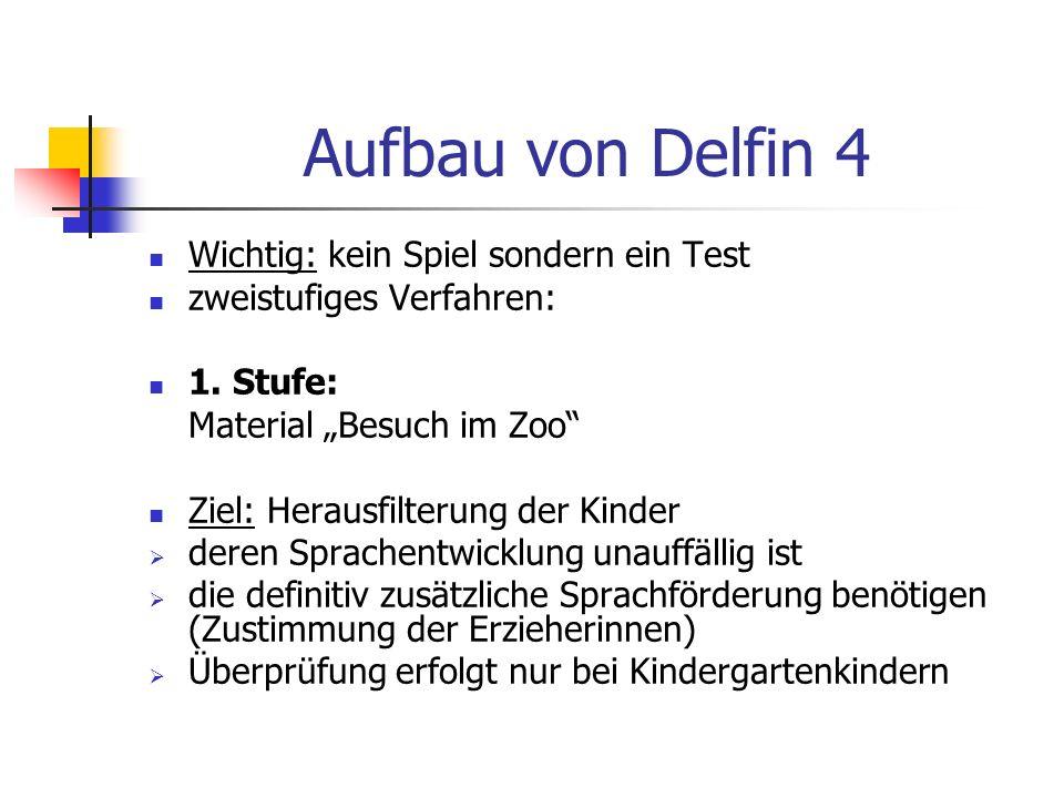 Aufbau von Delfin 4 Wichtig: kein Spiel sondern ein Test