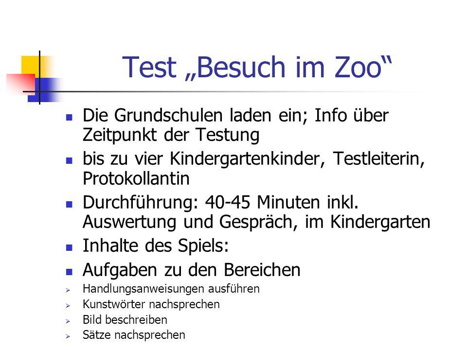 """Test """"Besuch im Zoo Die Grundschulen laden ein; Info über Zeitpunkt der Testung. bis zu vier Kindergartenkinder, Testleiterin, Protokollantin."""