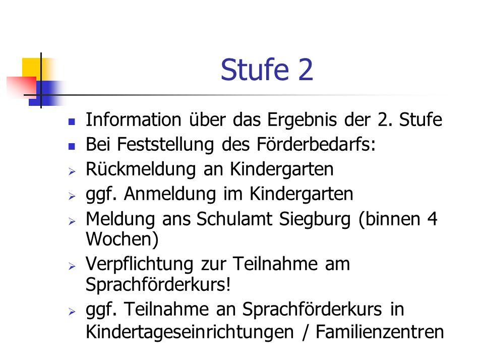 Stufe 2 Information über das Ergebnis der 2. Stufe