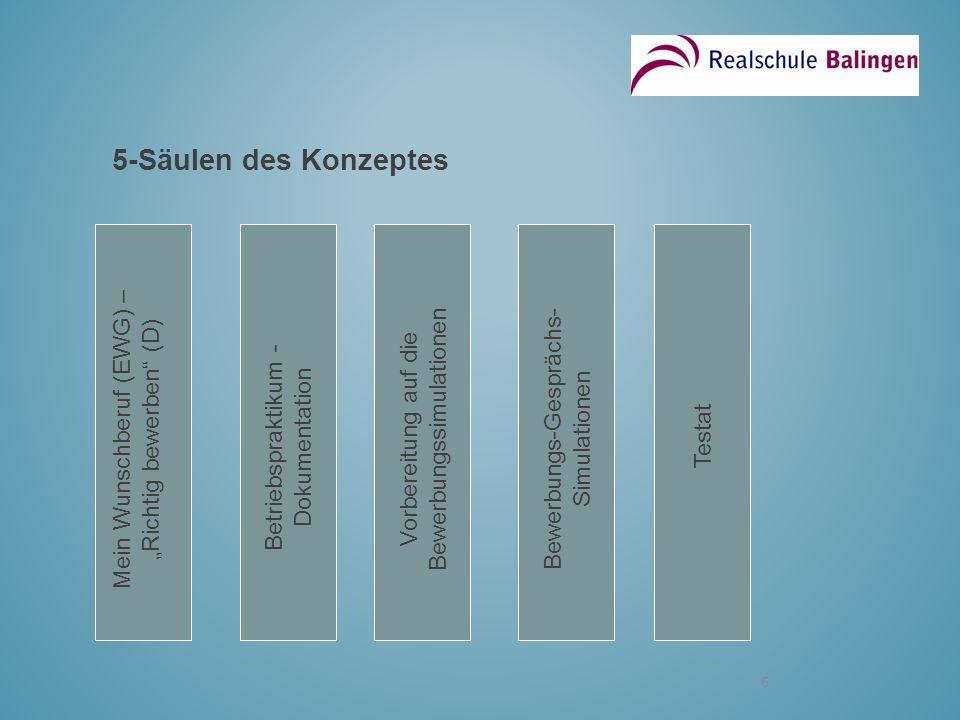 """5-Säulen des Konzeptes Mein Wunschberuf (EWG) – """"Richtig bewerben (D)"""