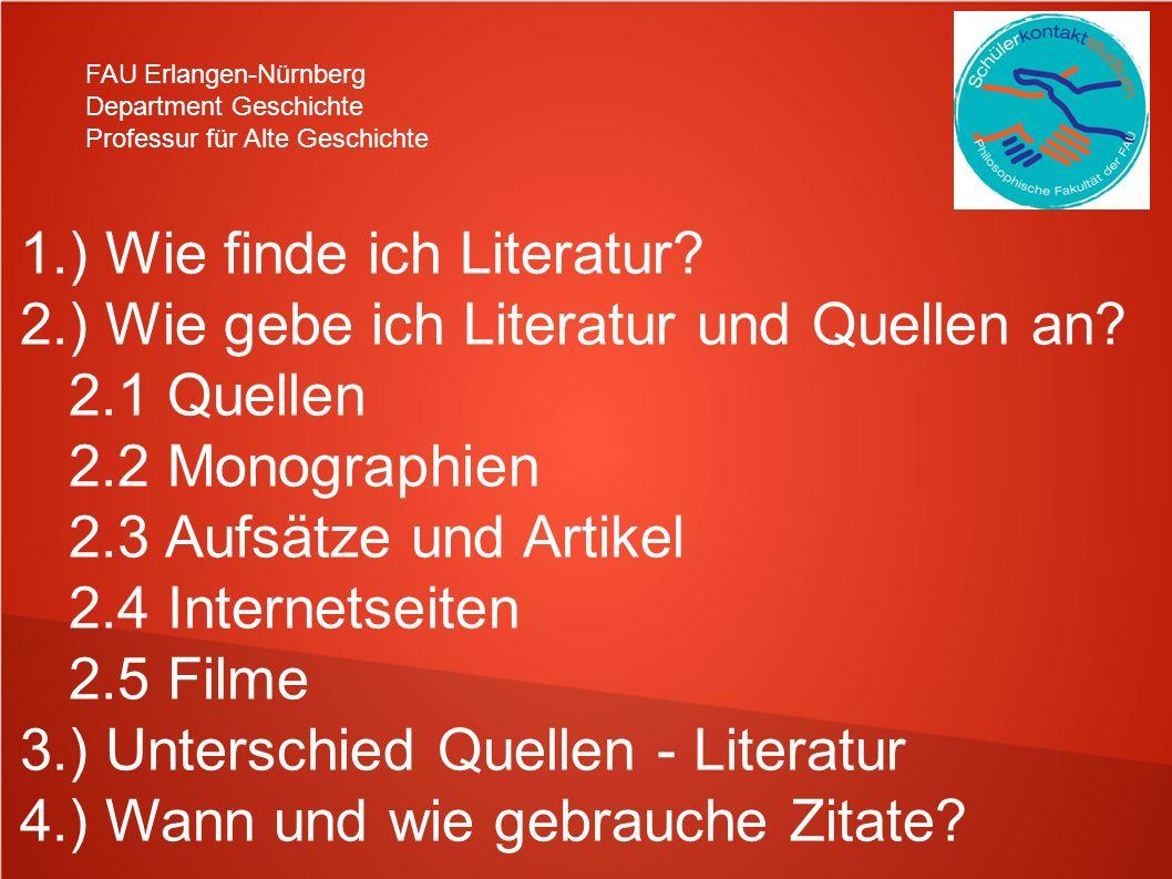 1.) Wie finde ich Literatur