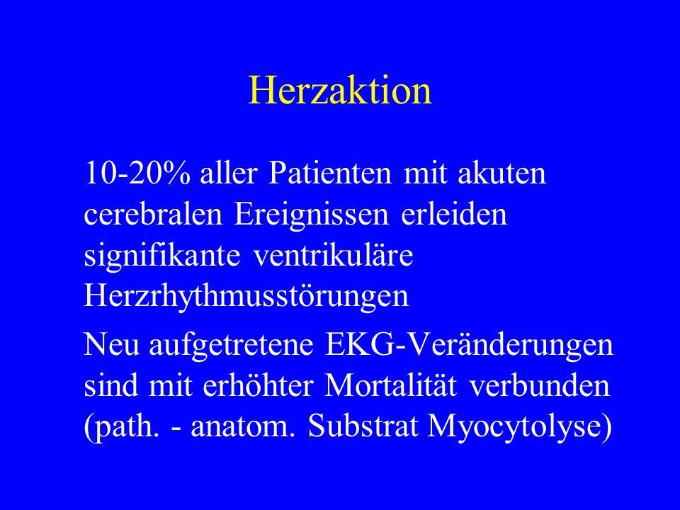 Herzaktion 10-20% aller Patienten mit akuten cerebralen Ereignissen erleiden signifikante ventrikuläre Herzrhythmusstörungen.