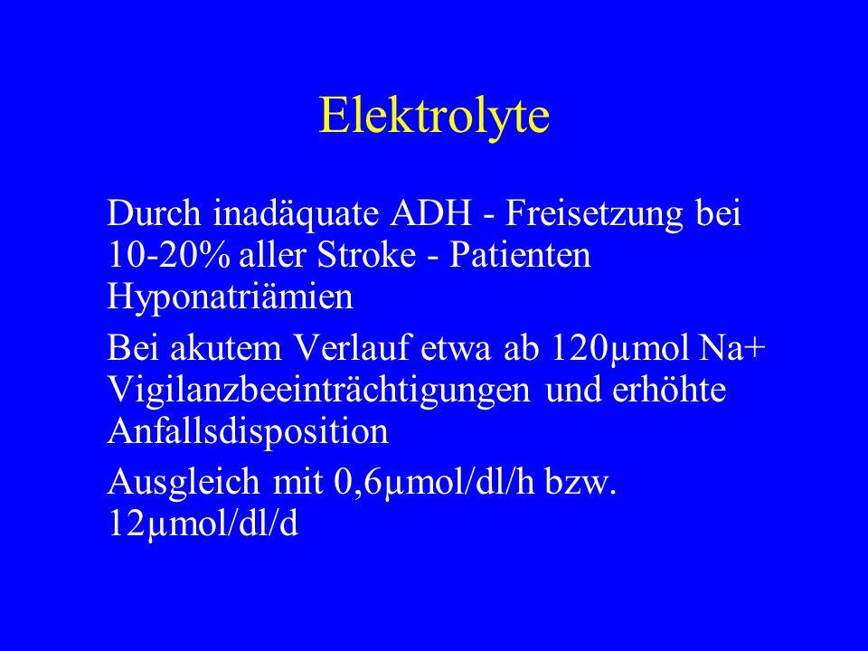 Elektrolyte Durch inadäquate ADH - Freisetzung bei 10-20% aller Stroke - Patienten Hyponatriämien.