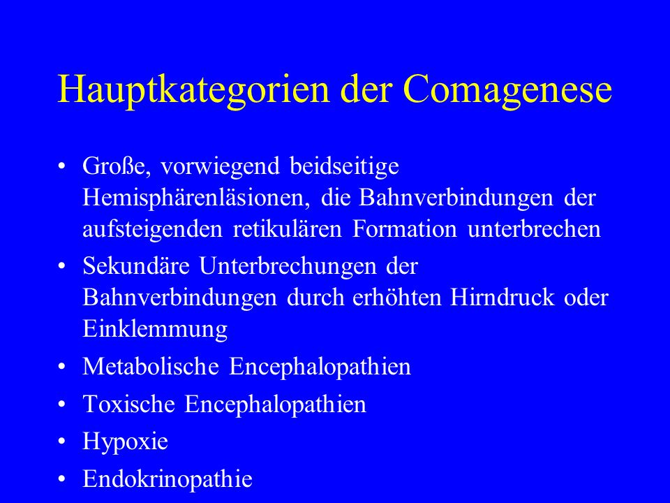 Hauptkategorien der Comagenese