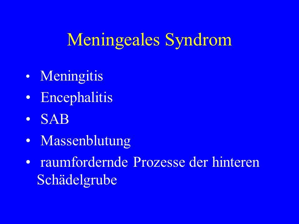 Meningeales Syndrom Encephalitis SAB Massenblutung