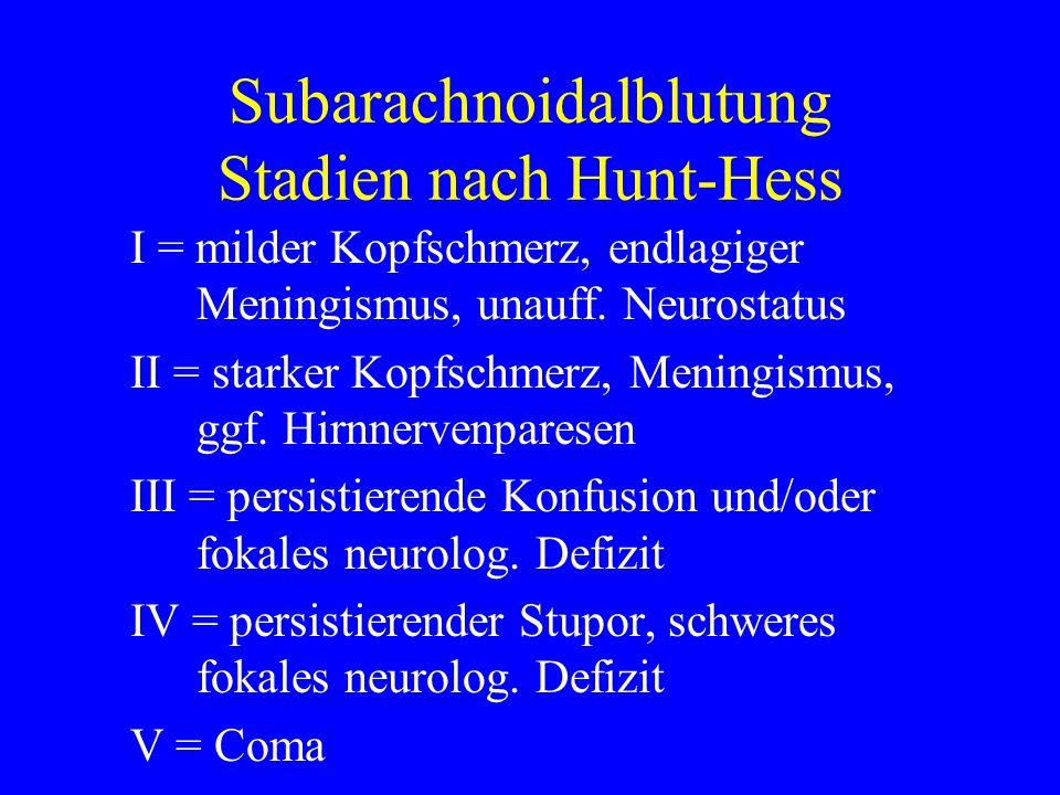 Subarachnoidalblutung Stadien nach Hunt-Hess