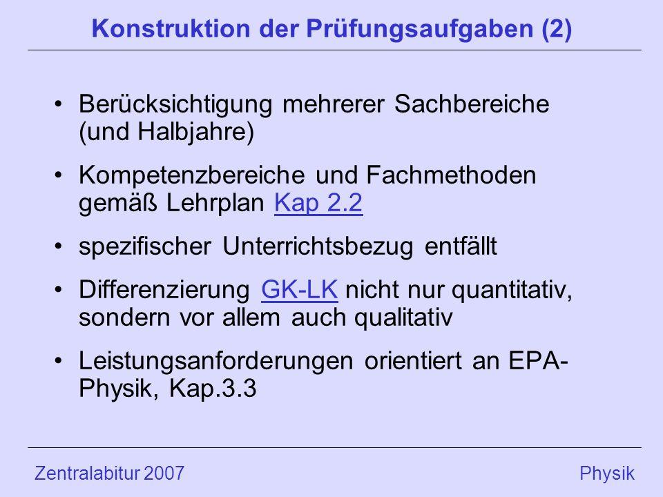 Konstruktion der Prüfungsaufgaben (2)