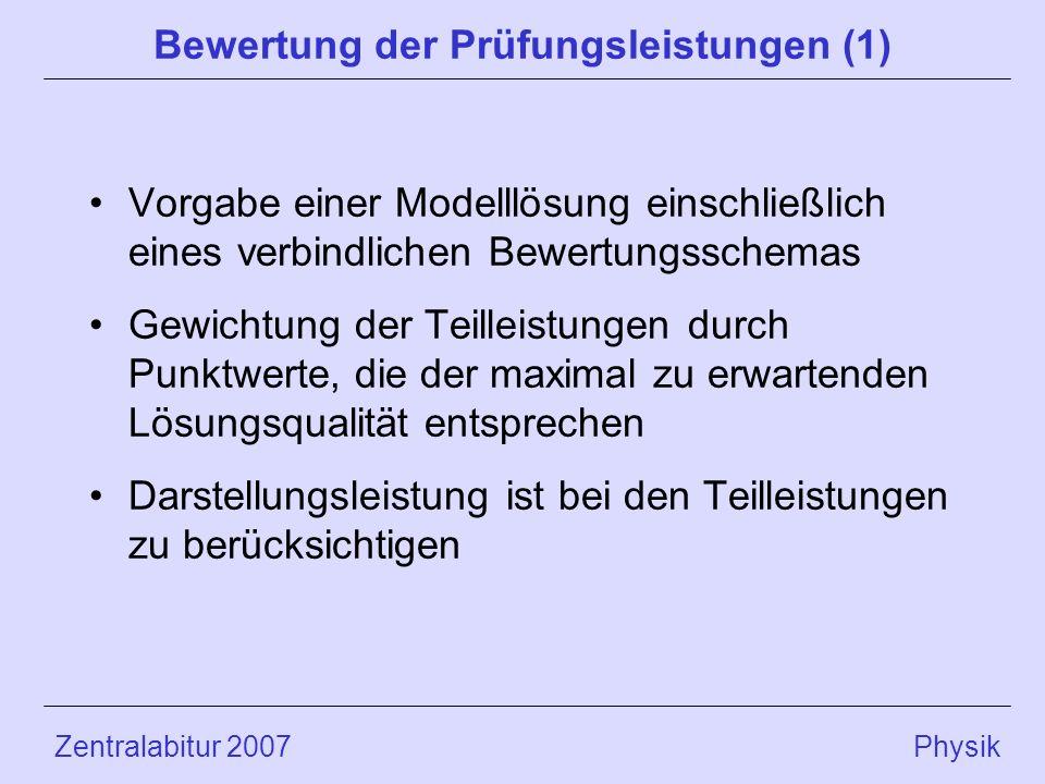 Bewertung der Prüfungsleistungen (1)