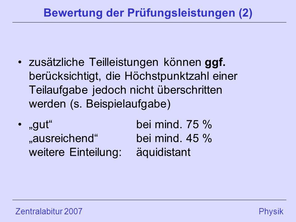 Bewertung der Prüfungsleistungen (2)