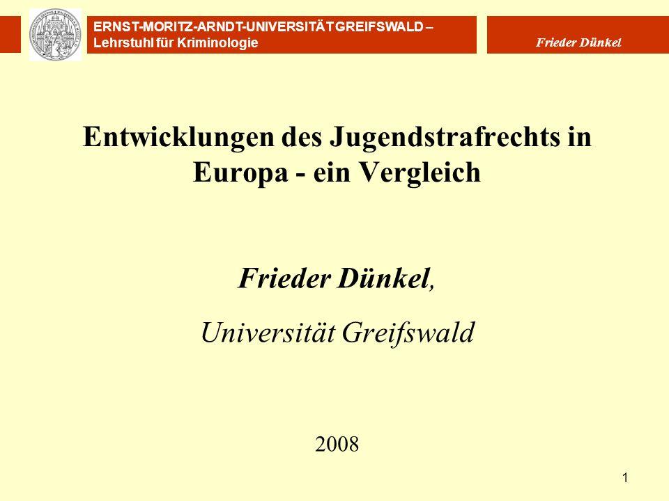 Entwicklungen des Jugendstrafrechts in Europa - ein Vergleich