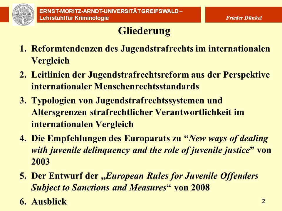 Gliederung 1. Reformtendenzen des Jugendstrafrechts im internationalen Vergleich.