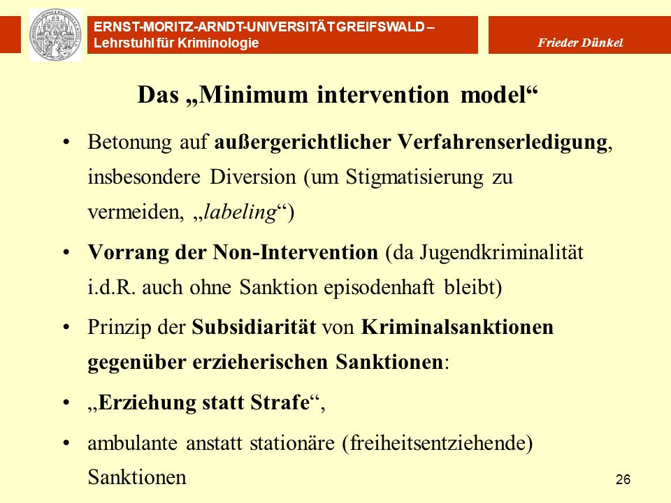 "Das ""Minimum intervention model"