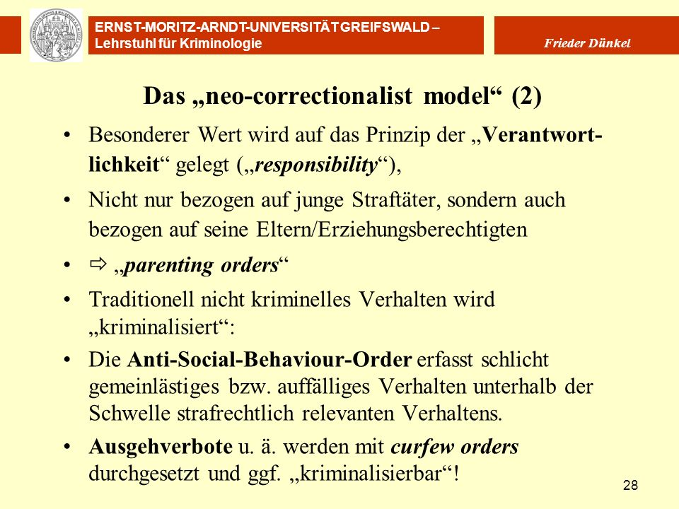 "Das ""neo-correctionalist model (2)"