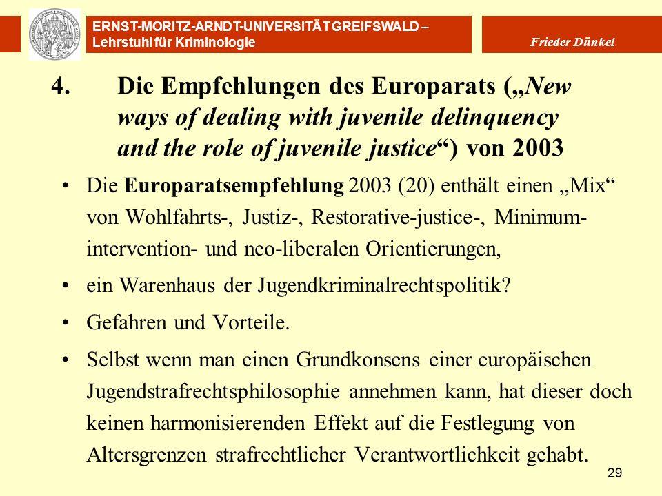 """4. Die Empfehlungen des Europarats (""""New"""