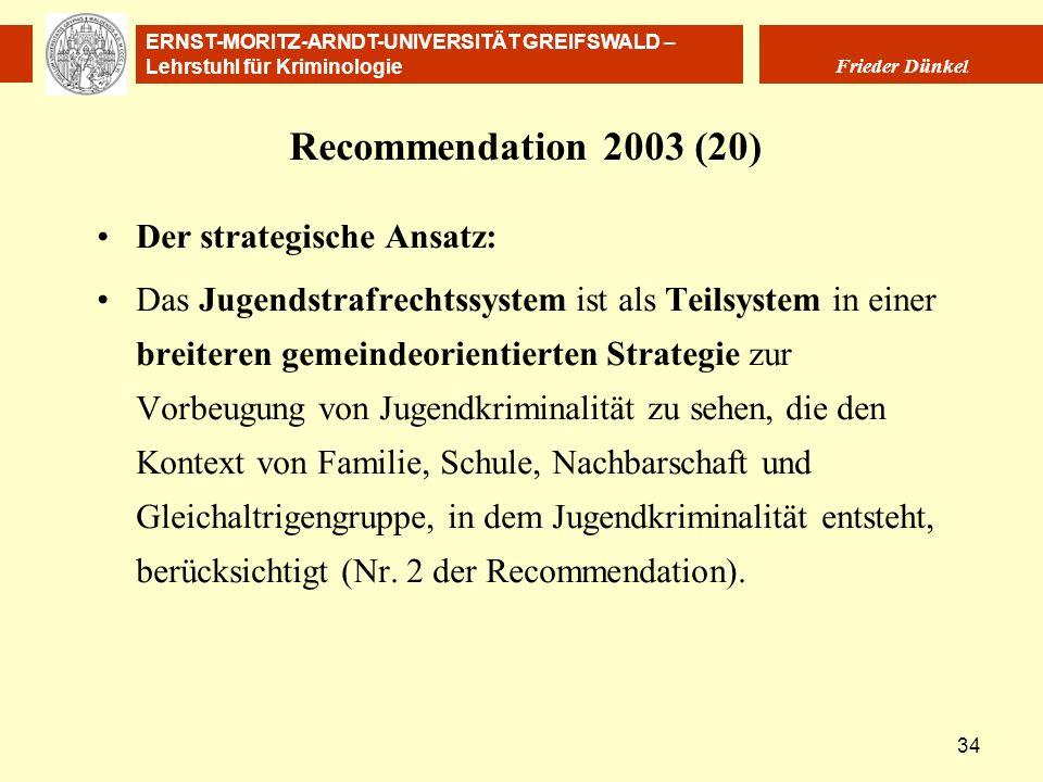 Recommendation 2003 (20) Der strategische Ansatz: