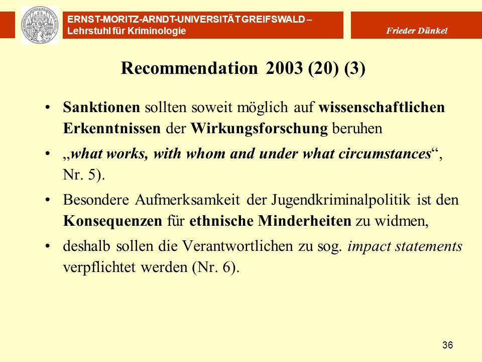 Recommendation 2003 (20) (3) Sanktionen sollten soweit möglich auf wissenschaftlichen Erkenntnissen der Wirkungsforschung beruhen.