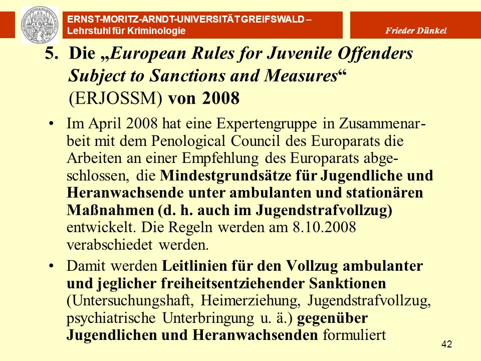 "5. Die ""European Rules for Juvenile Offenders Subject to Sanctions and Measures (ERJOSSM) von 2008"