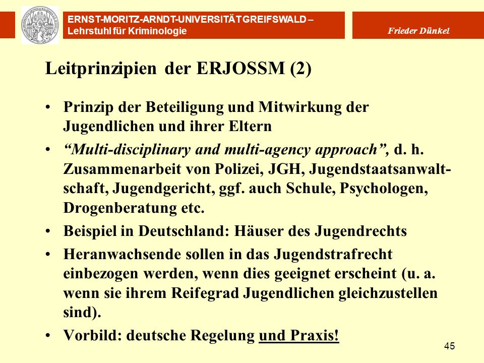 Leitprinzipien der ERJOSSM (2)