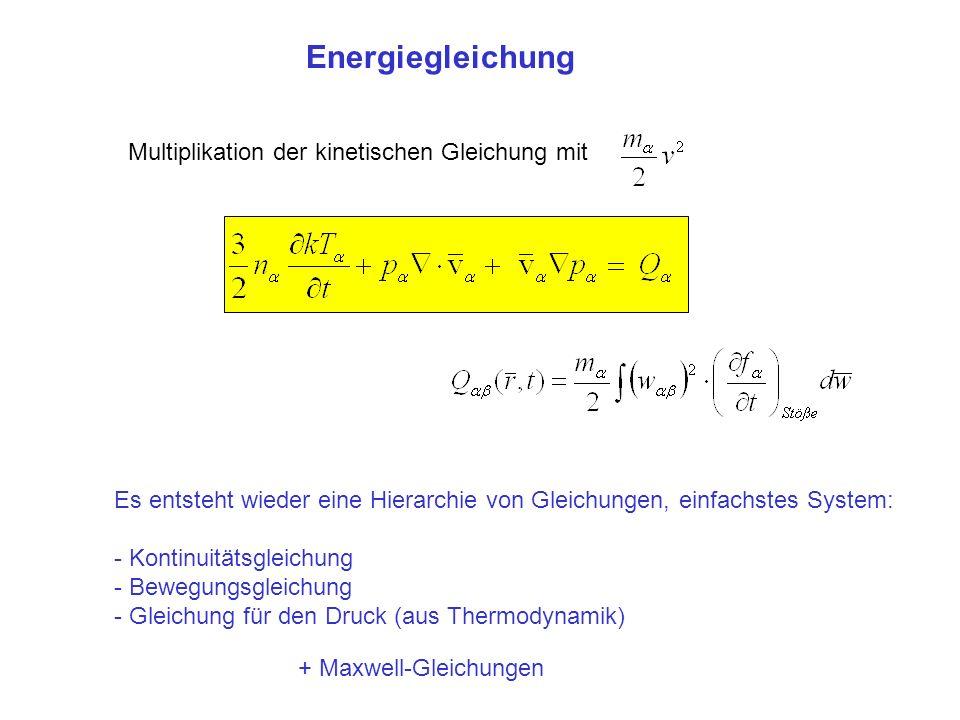 Energiegleichung Multiplikation der kinetischen Gleichung mit