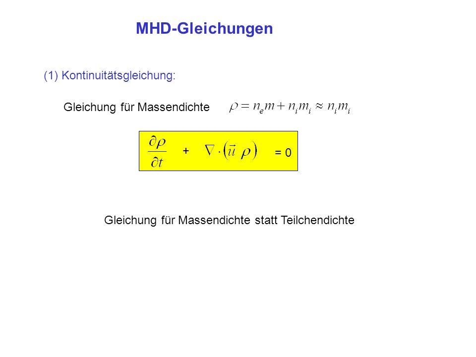 MHD-Gleichungen (1) Kontinuitätsgleichung: Gleichung für Massendichte