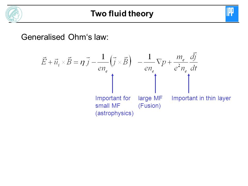 Generalised Ohm's law: