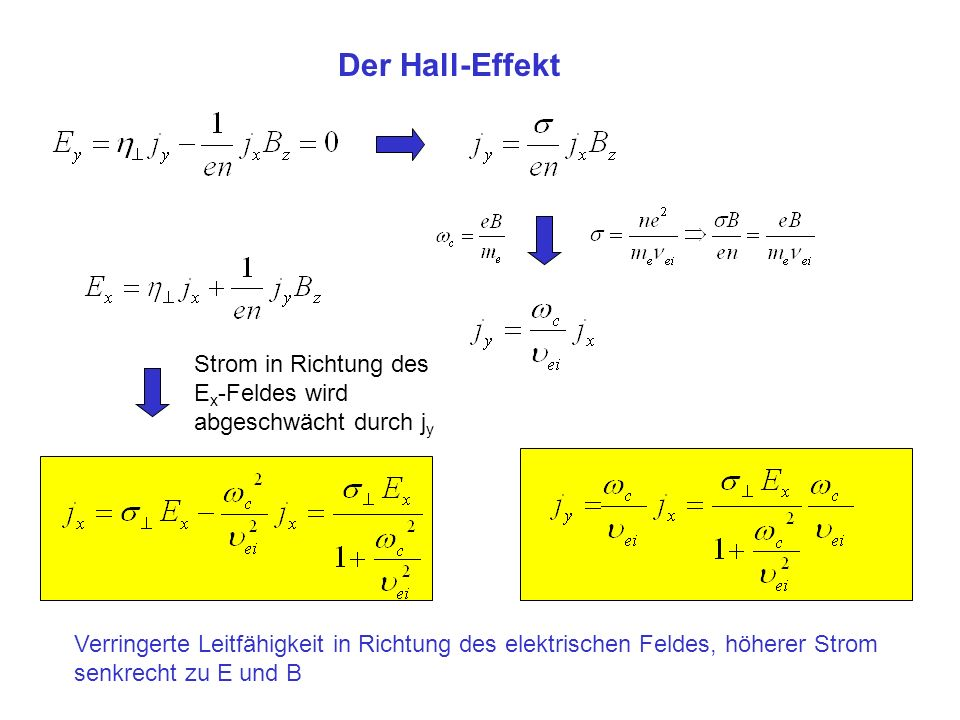 Der Hall-Effekt Strom in Richtung des Ex-Feldes wird abgeschwächt durch jy. Sigma/(e n) B = e B/(m_e nu_ei) = om_c/nu.