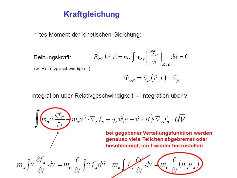 Kraftgleichung 1-tes Moment der kinetischen Gleichung: Reibungskraft: