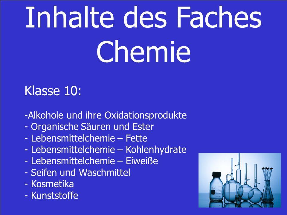 Inhalte des Faches Chemie