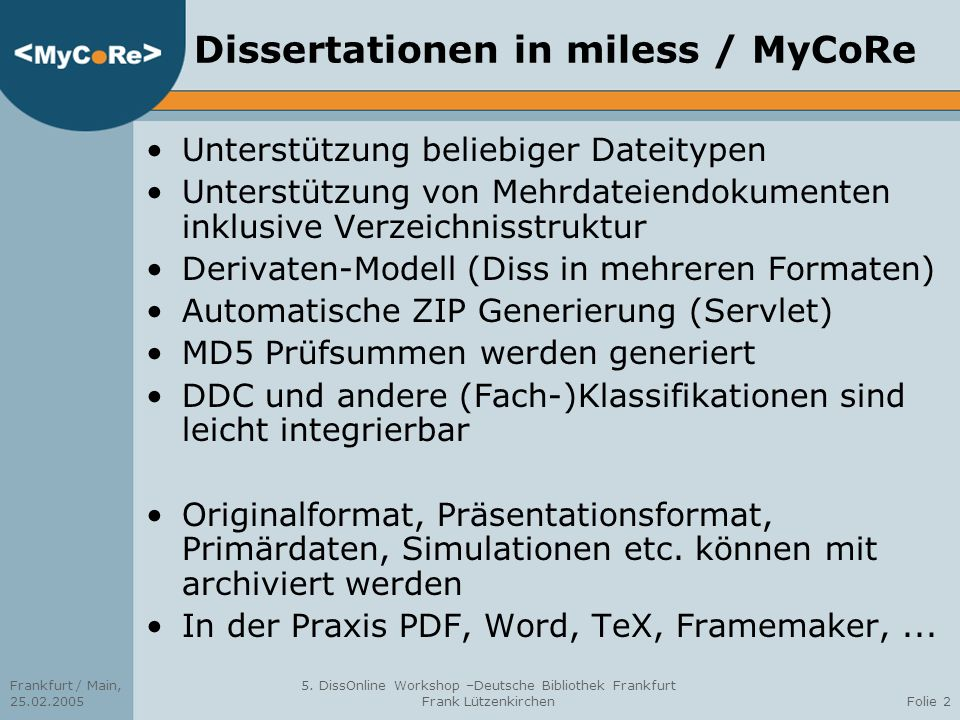 Dissertationen in miless / MyCoRe