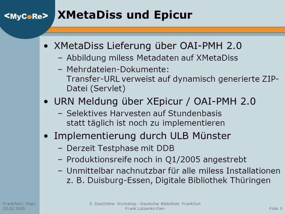 XMetaDiss und Epicur XMetaDiss Lieferung über OAI-PMH 2.0
