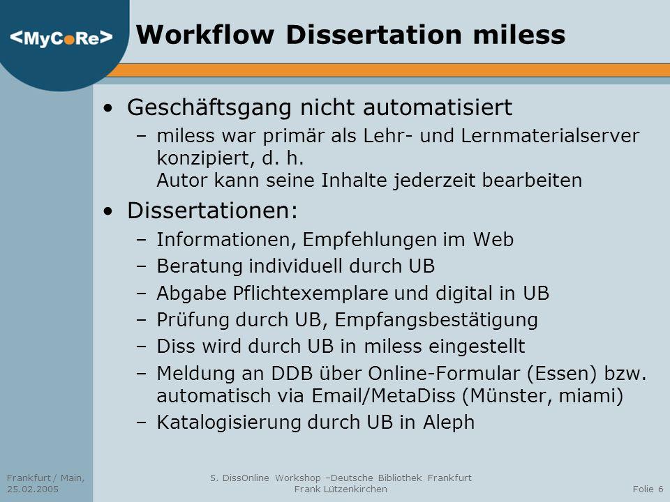 Workflow Dissertation miless