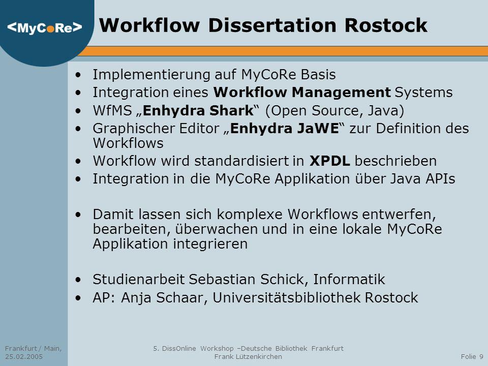 Workflow Dissertation Rostock