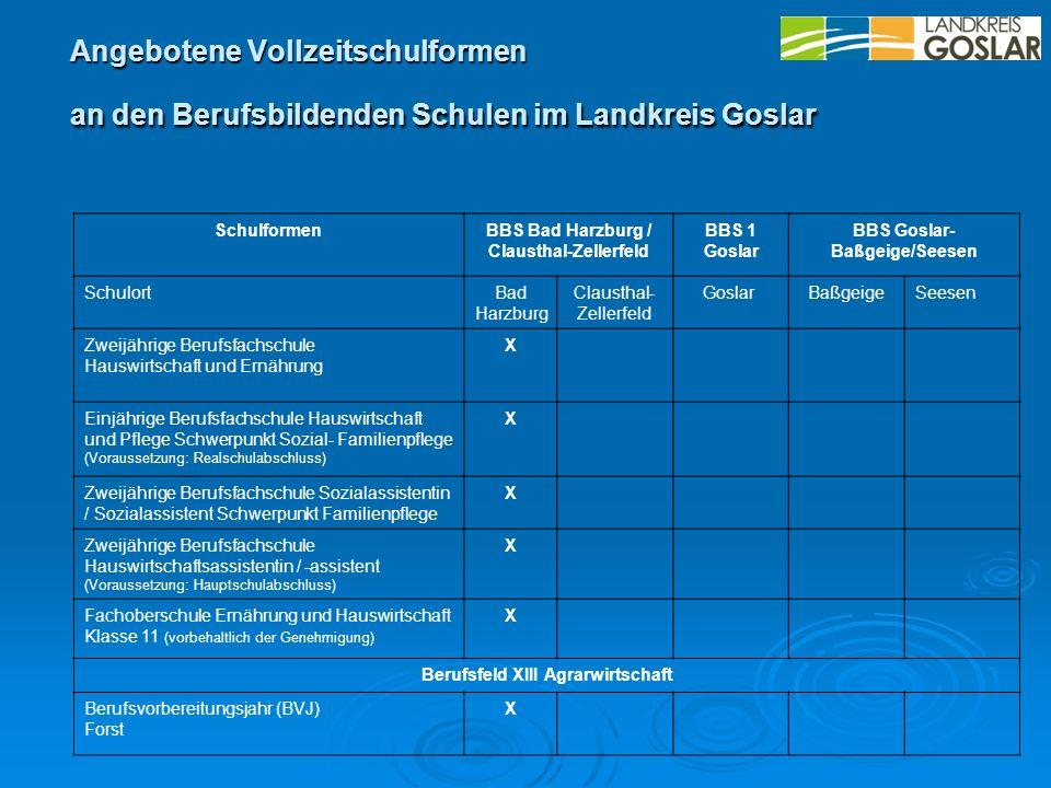 Angebotene Vollzeitschulformen an den Berufsbildenden Schulen im Landkreis Goslar