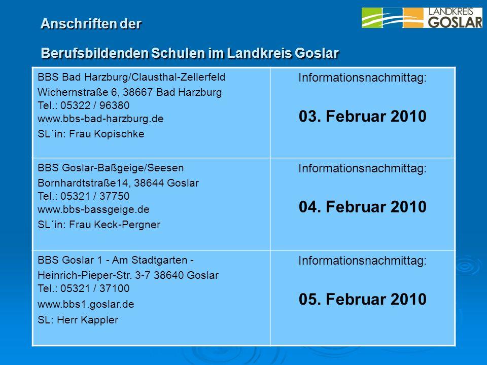 Anschriften der Berufsbildenden Schulen im Landkreis Goslar