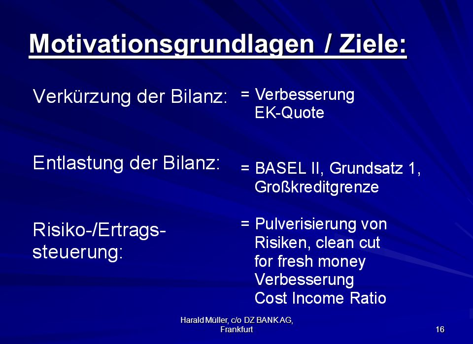 Motivationsgrundlagen / Ziele: