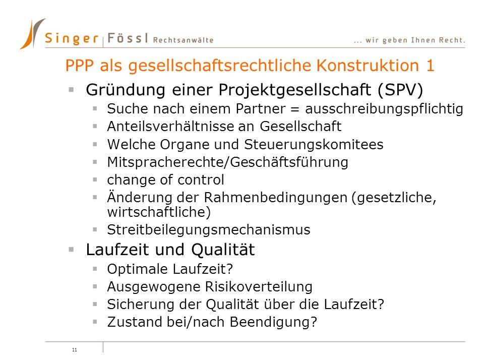 PPP als gesellschaftsrechtliche Konstruktion 1