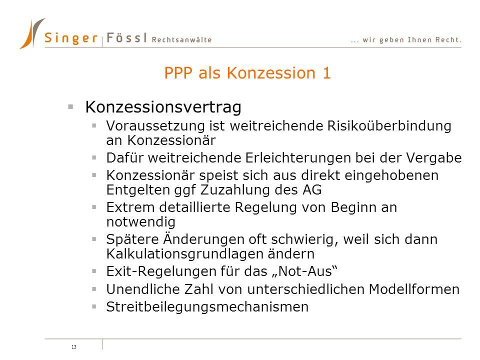 PPP als Konzession 1 Konzessionsvertrag