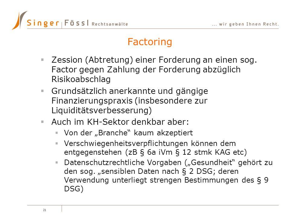 Factoring Zession (Abtretung) einer Forderung an einen sog. Factor gegen Zahlung der Forderung abzüglich Risikoabschlag.