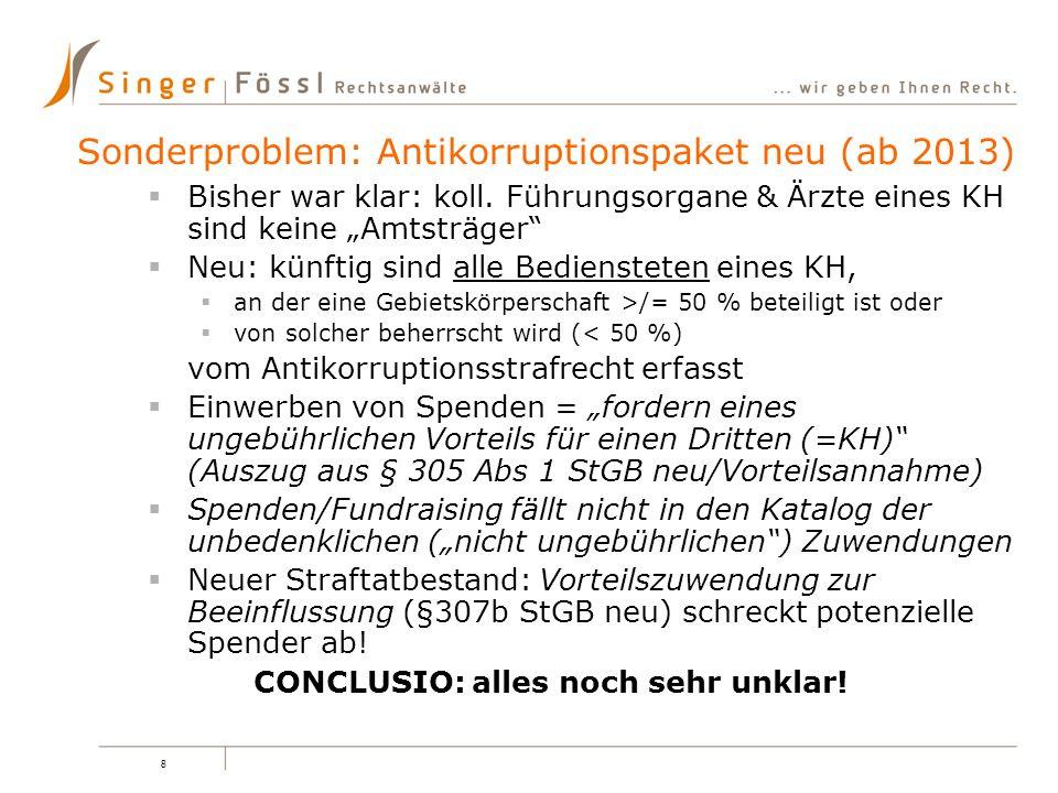 Sonderproblem: Antikorruptionspaket neu (ab 2013)