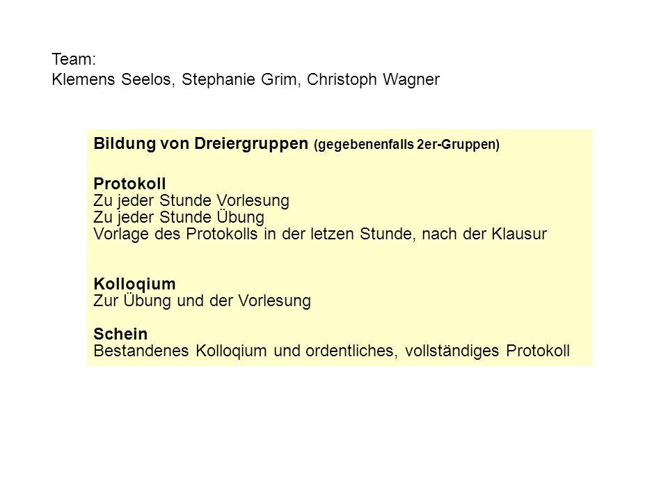 Team: Klemens Seelos, Stephanie Grim, Christoph Wagner. Bildung von Dreiergruppen (gegebenenfalls 2er-Gruppen)