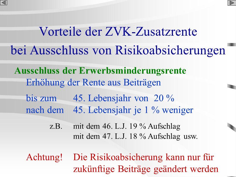 Vorteile der ZVK-Zusatzrente bei Ausschluss von Risikoabsicherungen